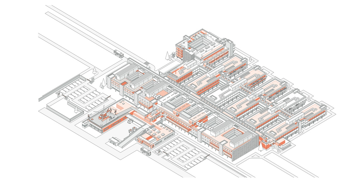 Illustration of the protected areas of a hospital