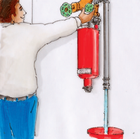 Lösung mittels der Installation einer Entwässerungseinheit