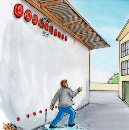 Zeichnung der Probleme bei wassergetriebenen Alarmglocken